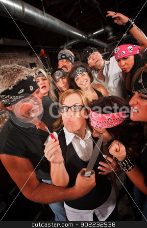 Upset Nerd Against Laughing Gang stock photo, Nerd with pocket knife standing up to armed gang members by Scott Griessel