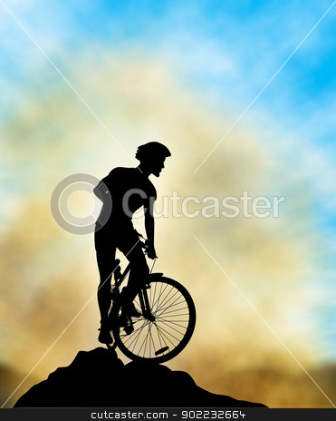 Ridge rider stock vector clipart, Editable vector illustration of a mountain biker silhouette high on a ridge with background sky and mist made using a gradient mesh by Robert Adrian Hillman