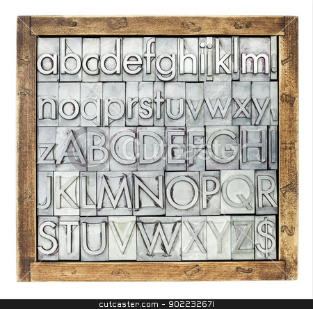 metal type alphabet stock photo, lowercase and uppercase English alphabet - vintage metal letterpress type blocks in a wooden box,  isolated on white by Marek Uliasz