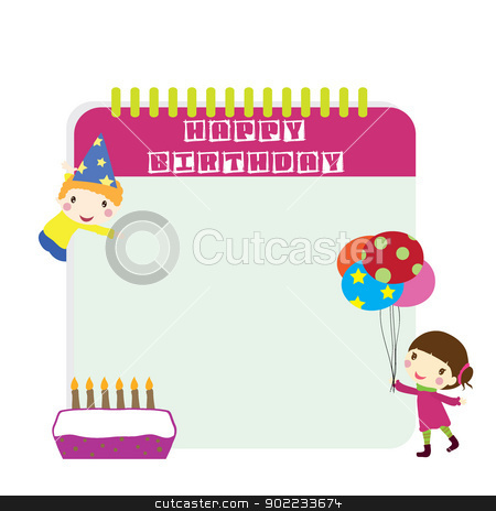 children birthday stock vector clipart, two children with birthday background by glossygirl21