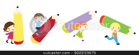 children background stock vector clipart, children with pencil background by glossygirl21