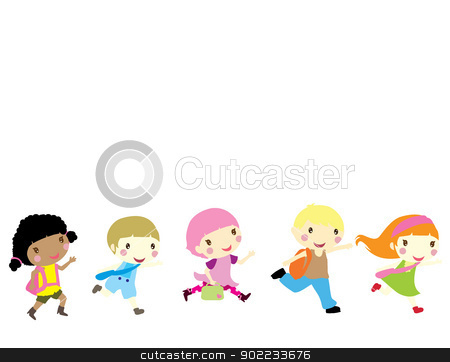 children running to school stock vector clipart, five little children running to school by glossygirl21