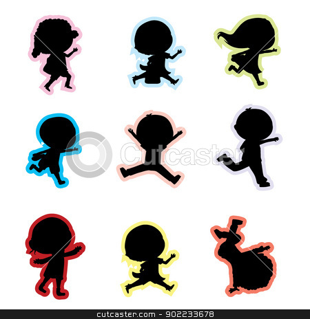 children silhouettes stock vector clipart, 9 little children children silhouettes by glossygirl21