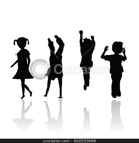 children silhouettes stock vector clipart, four isolated children silhouettes  by glossygirl21