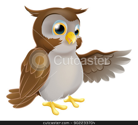 Pointing Cartoon Owl stock vector clipart, An illustration of a cute cartoon owl character pointing or showing something with his wing by Christos Georghiou