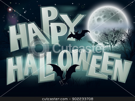 Happy Halloween Background stock vector clipart, A spooky Happy Halloween background illustration of night scene with full moon bats and scary trees by Christos Georghiou