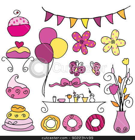 party items stock vector clipart, 16 sets of party items for parties, occasions and others by glossygirl21
