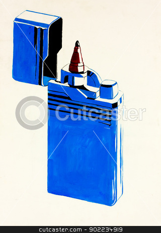 Abstract lighter stock photo,  Original abstract water color and  hand drawn painting or   sketch of a lighter in shape of pen by borojoint