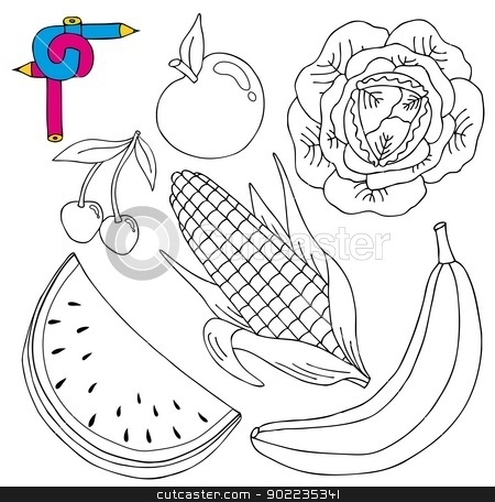 Coloring image fresh collection stock vector clipart, Coloring image fresh collection - vector illustration. by connynka