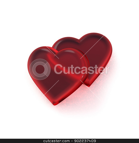 Hearts stock photo, Two red glass hearts on a white background. by Glenn Price
