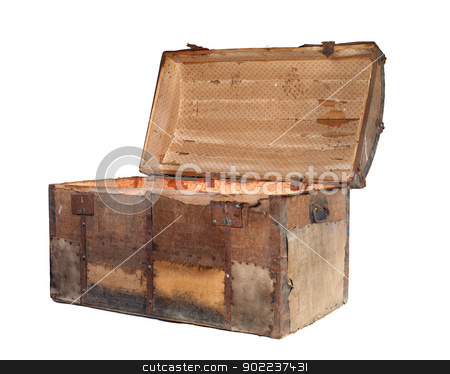 Antique chest stock photo, Open antique box or treasure chest on a white background. by Sinisa Botas