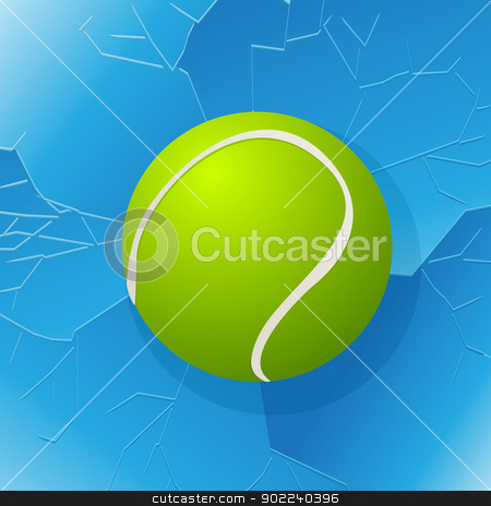 Tennis ball and window stock vector clipart, Cracked window with tennis ball in. by Richard Laschon