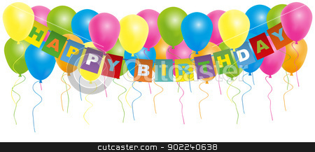 Happy Birthday Card stock vector clipart, Happy Birthday Card- Color Balloons With With Happy Birthday Sign Isolated on White Background by JAMDesign