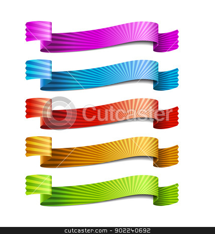 ribbon stock vector clipart, colored ribbons, isolated on white background by Miroslava Hlavacova