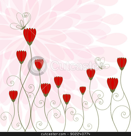 Springtime Flower with Butterfly stock vector clipart, Springtime Flower with Butterfly Greeting Card by meikis