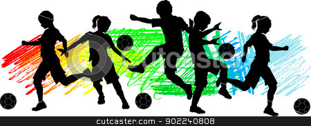 Kids Boys and Girls Soccer Silhouettes  stock vector clipart, Soccer Players Silhouettes of Children - Boys and Girls by chromaco