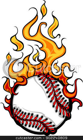 Baseball Softball Flaming Ball Vector Cartoon stock vector clipart, Flaming Baseball Softball Ball Vector Cartoon burning with Fire Flames by chromaco