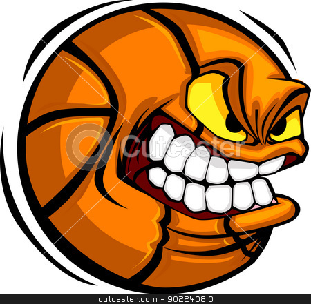 Basketball Face Cartoon Ball Vector Image stock vector clipart, Vector Cartoon Basketball with Mean Face by chromaco