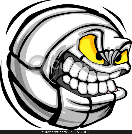 Volleyball Ball Face Cartoon Vector Image stock vector clipart, Vector Cartoon Volleyball Ball with Mean Face by chromaco
