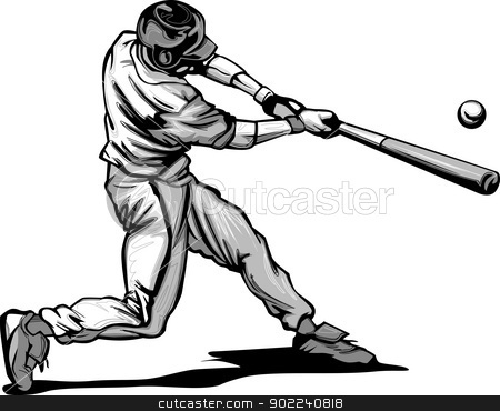 Baseball Batter Hitting Pitch Vector image stock vector clipart, Baseball Hitter Swinging at a Fast Pitch Vector Illustration by chromaco