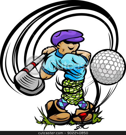 Golfer Cartoon Swinging Golf Club at Ball on Tee stock vector clipart, Cartoon Golf  Player Teeing Off with Driver and Golf Ball on Tee Vector Illustration by chromaco