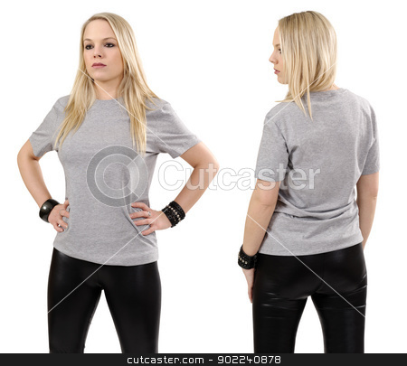 Blond woman posing with blank gray shirt stock photo, Young beautiful blond female posing with a blank gray t-shirt, front and back view. Ready for your design or artwork. by © Ron Sumners