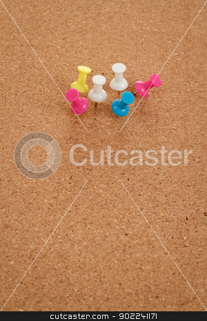cork board with color pins stock photo, cork board with color pins and space for message by Artush