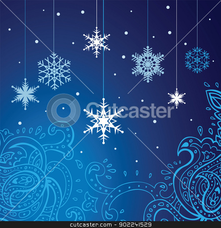 Snowflakes  vector background. stock photo, Winter snowflakes background. New Year Vector illustration. by Katyau