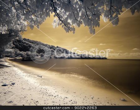 Beautiful beach in Ko Kham island stock photo, Beautiful beach in Ko Kham island photographed in near infrared light, Sattahip, Chon Buri, Thailand by Exsodus