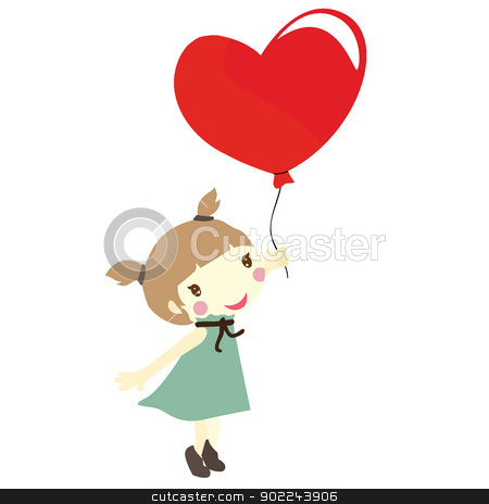 girl with love balloons stock vector clipart, girl holiding a red heart shaped balloon  by glossygirl21