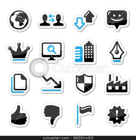 Web internet icons set - vector stock vector clipart, Modern application website black and blue labels set by Agnieszka Bernacka
