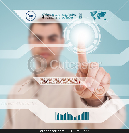 Digital concept stock photo, Businessman navigating interface in future  by Grafvision