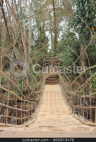 Suspension bamboo bridge stock photo, Suspension bamboo bridge at water fall in Paksong City, Laos by Suphatthra China