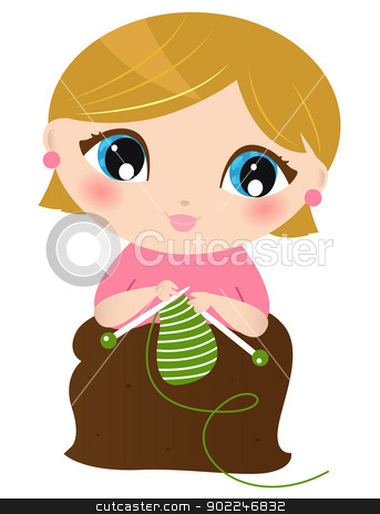 Beautiful knitting Woman isolated on white stock vector clipart, Young stylish Woman knitting. Vector Illustration by Jana Guothova