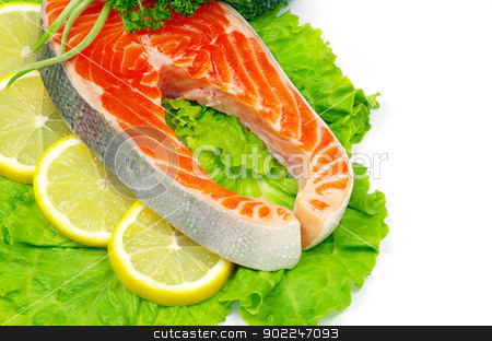 raw salmon  stock photo, raw salmon and spices isolated by Vitaliy Pakhnyushchyy