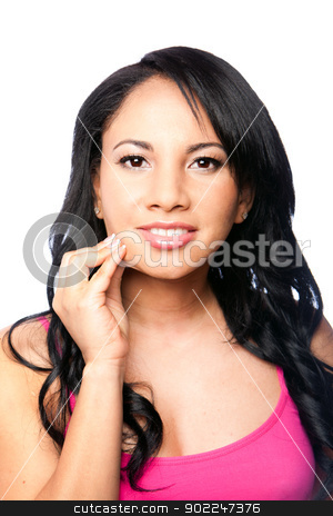 Beautiful skin - woman face stock photo, Beautiful young woman pinching healthy skin on cheek showing elasticity, isolated. by Paul Hakimata