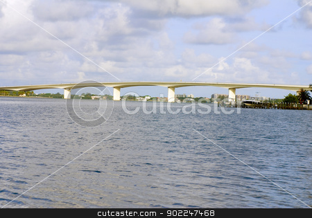 Sarasota Ringling Bridge stock photo, Seascape image of Sarasota's Ringling Bridge over the bay by saje