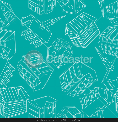 Architecture pattern stock vector clipart, Seamless background pattern with construction sketches by Richard Laschon