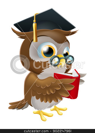 Owl reading book stock vector clipart, An illustration of a wise owl on a stack of books reading wearing glasses and a mortar board convocation hat. by Christos Georghiou