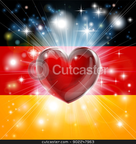 Love Germany flag heart background stock vector clipart, Flag of Germany patriotic background with pyrotechnic or light burst and love heart in the centre by Christos Georghiou
