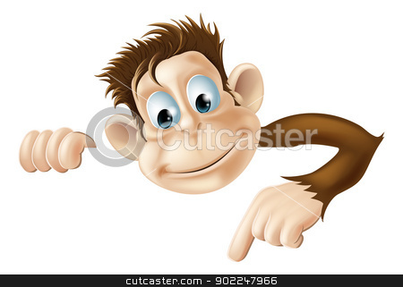 Pointing Monkey stock vector clipart, An illustration of a cute cartoon monkey peeking round from behind a sign and pointing or showing what it says by Christos Georghiou