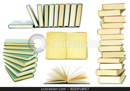 stack of books stock photo,   Stack of books isolated over white background by Vitaliy Pakhnyushchyy