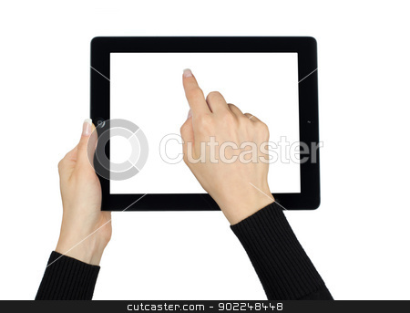 hands with tablet computer  stock photo, hands with tablet computer on white by Vitaliy Pakhnyushchyy