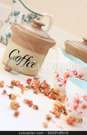 Romantic tea /coffee setting on the table  stock photo, Romantic tea setting on the table close up by Juliet Photography