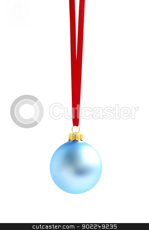 Christmas ball  stock photo, Christmas ball hanging with ribbons on white background by Vitaliy Pakhnyushchyy