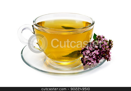 Herbal tea with oregano stock photo, Herbal tea in a glass cup and saucer, oregano sprig of flowers isolated on white background by rezkrr