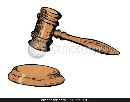 court gavel stock vector clipart, hand drawn, vector, sketch illustration of court gavel by Oleksandr Kovalenko