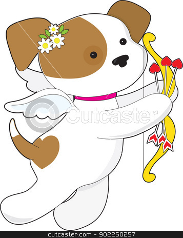 Cupid Puppy stock vector clipart, With flowers, wings, bow and arrows, a little puppy flies through the air on a Valentines Day mission. by Maria Bell