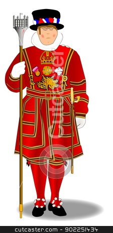 Beefeater stock vector clipart, A beefeater of the type used to guard the tower of London. by Kotto