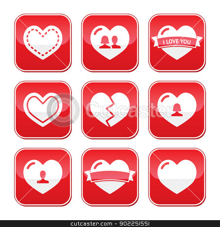 Love hearts buttons set for Valentines Day stock vector clipart, Red hearts vector buttons set - love, relationship, couples by Agnieszka Bernacka